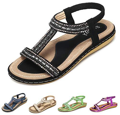 gracosy Women Summer Flat Sandals, Slippers Elastic Flip Flops Bohemian Thong Slip on Rhinestone Low Wedge Beach Sandal A-Black 7.5 M US