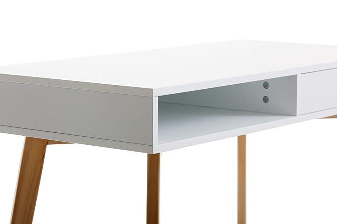 JYSK Escritorio tamholt 1 cajón Blanco/Roble: Amazon.es: Hogar