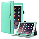 iPad Air 2 Case,iPad Air Case, ULAK PU Leather Stand Case Smart Auto Wake/Sleep Cover with Hand Strap and Stylus Holder for Apple iPad Air 1/2 (9.7 Inch) Mint Green