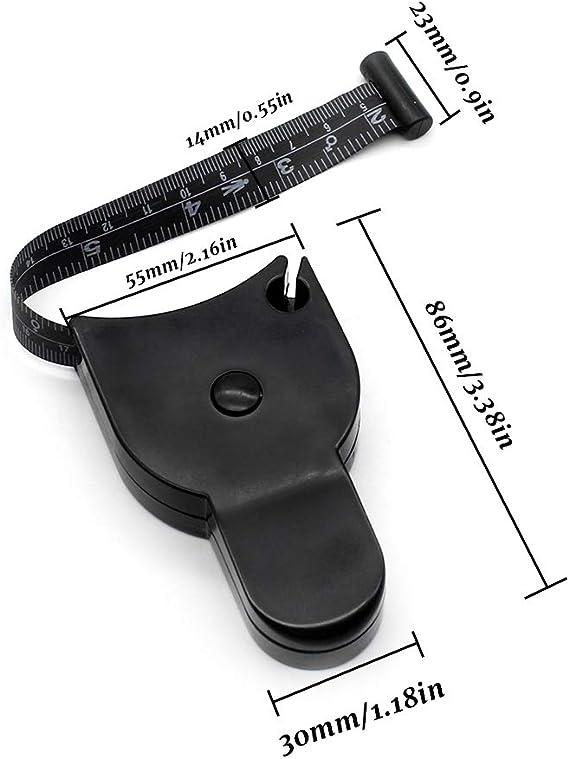 Dylan-EU 2 Piezas Cinta Métrica Retráctil para el Cuerpo Cintas de Medición para Grasa (pulgadas y cm) 150 cm / 60 Pulgadas Negra Tape Measure for ...