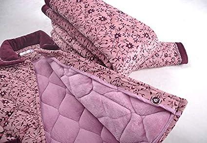 HENGYU Pyjama Hiver Dames Épaisse Flanelle Trois Couches Matelassée en Molleton Corail Costume De Service À La Maison 72-85Kg Xxxl164-175Cm