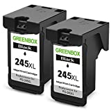 GREENBOX Remanufactured Ink Cartridge Replacement For Canon PG-245XL PG-245 245XL 245 XL (2 Black) High Yield For Canon PIXMA MX492 MG2920 MG2520 IP2820 MG2420 MG2922 MG2924 Printer