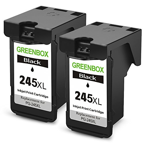 GREENBOX Remanufactured Ink Cartridge Replacement For PG-245XL PG-245 245XL 245 XL (2 Black) High Yield For Canon PIXMA MX492 MG2920 MG2520 IP2820 MG2420 MG2922 MG2924 Printer