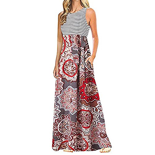 Women Striped Patchwork Sleeveless Boho Print Veat Dresses with Pockets Party Evening Long Maxi Dresses by LUCA