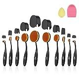 Oval Makeup Brush, ISASSY 10 PCS Professional Soft Toothbrush Shaped Design Oval Make Up Brushes Set Foundation Concealer Blending Cosmetic Brushes
