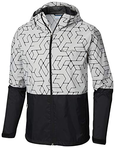 (Columbia Men's Roan Mountain Jacket, Cool Grey Maze Geolines Print, Black)