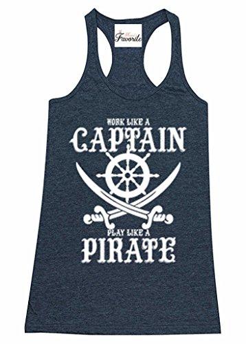 Moms Favorite Work Captain Play Pirate Womens Racerback Tank Top Nautical Tank Tops