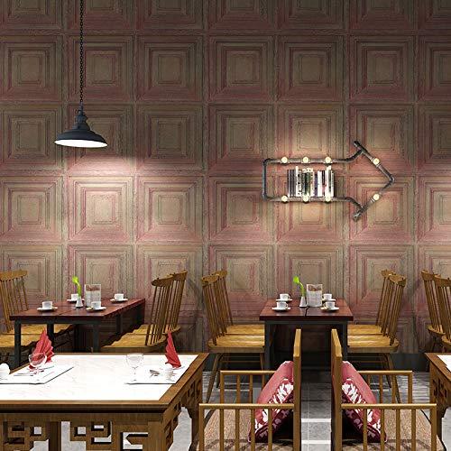Jhyhome 3D Three-Dimensional Retro Industrial Wind siding Wood Grain Wallpaper Living Room Bedroom Restaurant Plaid Wallpaper, Egyptian red
