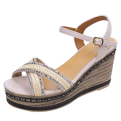 ◕‿◕Watere◕‿◕ Women's High Wedge Side Strap Criss Cross Strap Thick Peep Toe Beach Sandals Rome Buckle Strap Wedges Shoes Beige