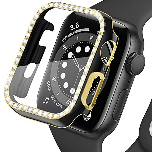 Lobkin Colorful Bling Crystal Diamond Shiny Frame Apple Watch Cases Tempered Glass Screen Protector Compatible iWatch Series SE/6/3 Bumper Smartwatch Full Covers Protective Case (Black-Gold, 38mm)