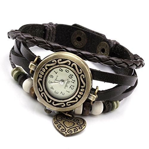 JSDDE Uhren,Vintage Wickelarmband Damen Armbanduhr Lederarmband Bronze Herz Anhänger Holzperlen Analog Quarz Uhr, Dunkelbraun