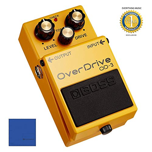 - BOSS OD-3 OverDrive Guitar Pedal with Microfiber and 1 Year Everything Music Extended Warranty