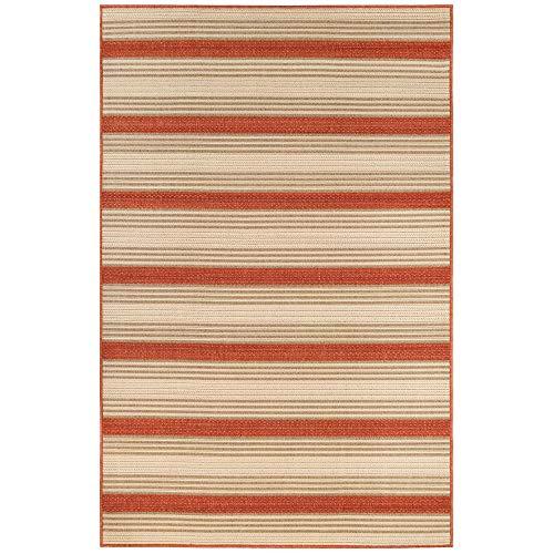 Liora Manne 7640/24 RED Riviera Stripe Indoor/Outdoor Rug, 6'6