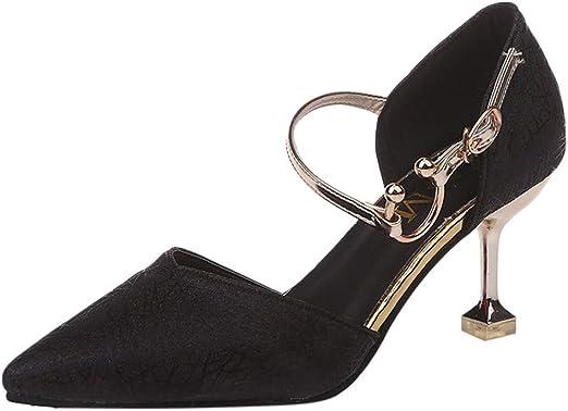 Memela Womens High Heel Fashion Stilettos Peep Toe Pump Heeled Sandals Buckle High Heel Non-Slip Sandals