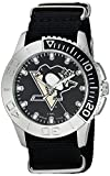 Game Time Men's 'Starter'  Metal and Nylon Quartz Analog  Watch, Color:Black (Model: NHL-STA-PIT)