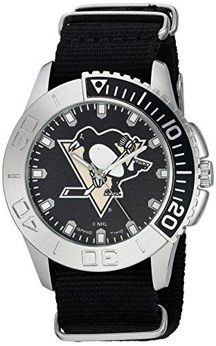 Pittsburgh Penguins Watch - Game Time Men's 'Starter'  Metal and Nylon Quartz Analog  Watch, Color:Black (Model: NHL-STA-PIT)