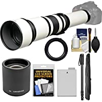 Vivitar 650-1300mm f/8-16 Telephoto Lens (White) (T Mount) with 2x Teleconverter (=2600mm) + LP-E8 Battery + Monopod + Accessory Kit for Canon EOS Rebel T3i, T4i, T5i Camera