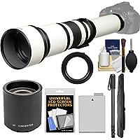 Vivitar 650-1300mm f/8-16 Telephoto Lens (White) (T Mount) with 2x Teleconverter (=2600mm) + LP-E8 Battery + Monopod + Accessory Kit for Canon EOS Rebel T3i, T4i, T5i Camera