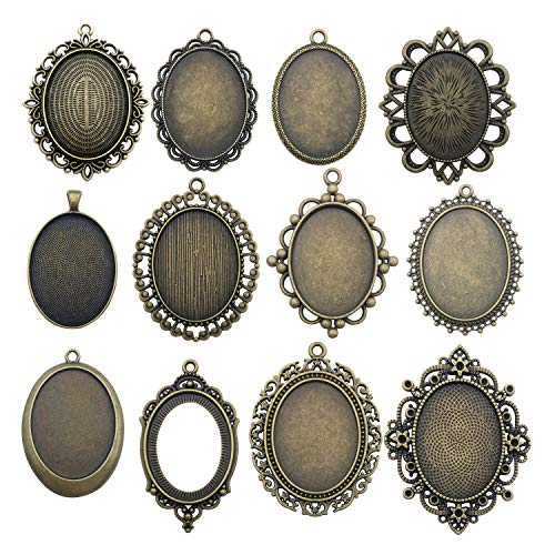 Youdiyla 10 Pendant Trays, 30x40mm, Blank Oval Cabochons Base Setting Bezel Frame Metal Cameo for Photo Pendant Jewelry Making (Antique Bronze-HM277) ()