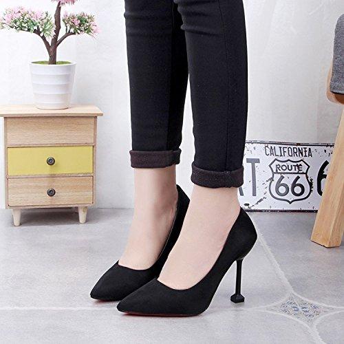 Xue Qiqi 10 cm Schwarz wild satin High Heels Heels Heels mit dünnen Schuhe pro Arbeit Schuhe für Frauen singles Schuhe 35 schwarz 10 cm 2d80ad