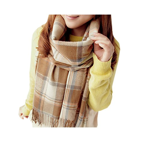 ARJOSA Women Knitted Plaid Oversized Long Scarf Shawl Wrap (#2 PLAID Beige)