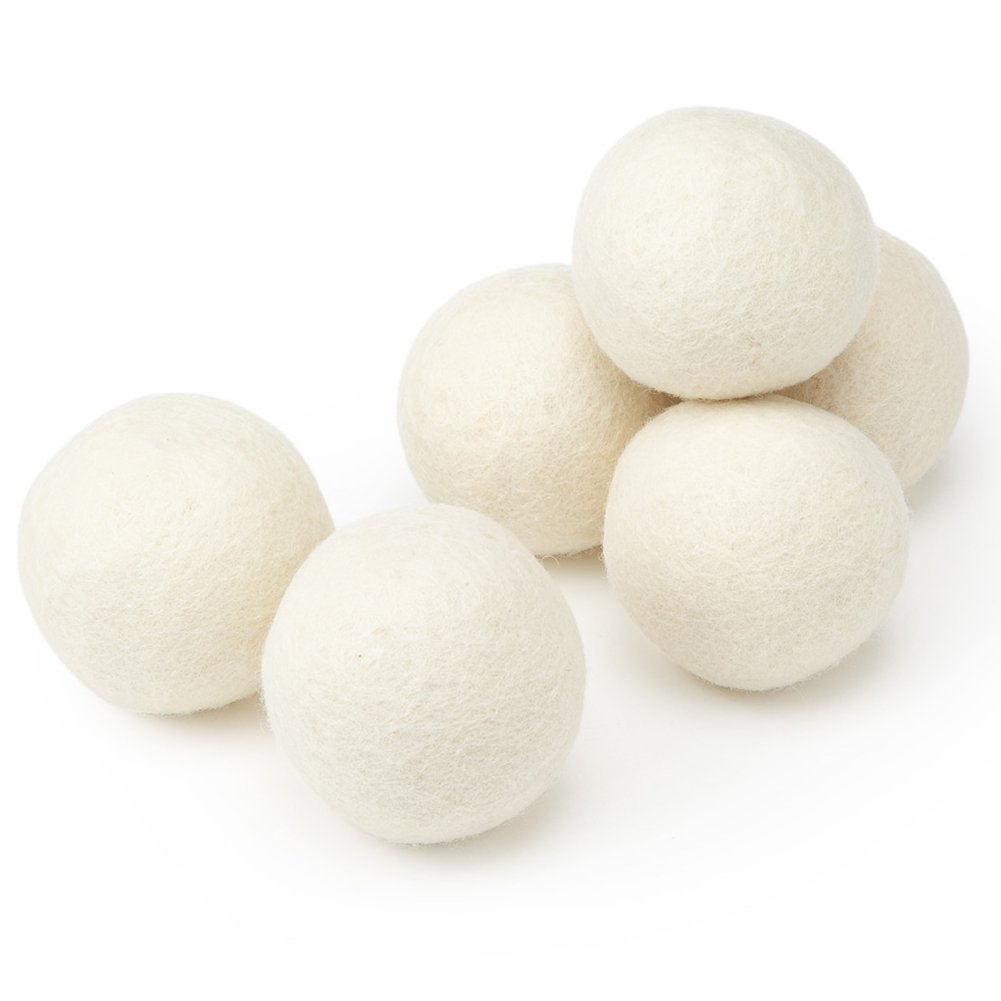 Wool Dryer Balls, 6-Pack, XL, 7.6cm , 100% Pure Organic, Reusable, Natural Fabric Softener, Reduce Wrinkles, Saves Drying Time B01N5XUQVA