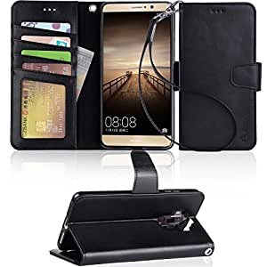 Mate 9 Case,Arae Huawei Mate 9 wallet Case with Kickstand and Flip cover, black