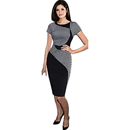 31fe0ce332ec Amazon.com  Women Dress Daoroka Ladies Sexy Plus Size Plaid Wear Work  Office Pencil Bodycon Elegant Casual Sheath Party Skirt (XL