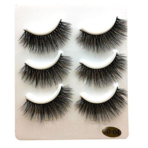 Enjocho 3 Pairs Long False Eyelashes Makeup Natural Fake Thick Black Eye Lashes Handmade (D)