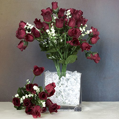 BalsaCircle 180 Burgundy Mini Silk Roses Buds - 12 Bushes - Artificial Flowers Wedding Party Centerpieces Arrangements Bouquets Supplies