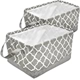 Sorbus Storage Basket Bin Set, Collapsible Rectangular Fabric Storage Organizer Basket with Drawstring Closure & Carry Handles for Laundry, Toys, Clothes, and More, 2-Pack (Gray Pattern)