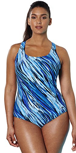 0ee856a4dff88 Aquabelle Women s Plus Size Chlorine Resistant X-Back Swimsuit 18 Multi
