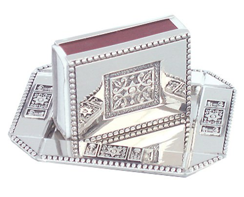 (Matchbox Holder with Matchstick Tray - Judaica Shabbat - Star of David Design)