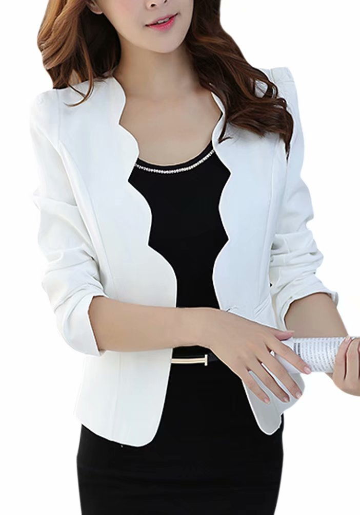Women's One Button Slim Fit Casual Office Swing Blazer Suit Jacket Coat White US 16 = Tag 5XL by LATUD