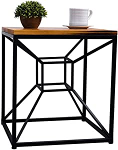 Carl Artbay Home&Selected Furniture/Industrial Style Coffee Table with Black Metal Frame for Living Room,Office,Kitchen 45 45 50CM