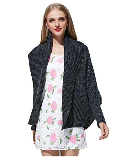 WELVT Women's Elegant Shawl Collar Solid Front Knit Cardigan T-shirt Sweater Grey Large