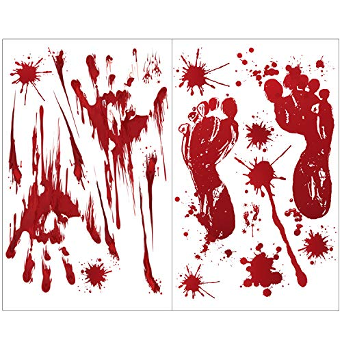 Blood Stains Halloween (Joyeah 60 Pieces Halloween Bloody Stickers Handprints Footprints Bloodstain Design, Window Wall Floor Clings Decals Stickers for Halloween)