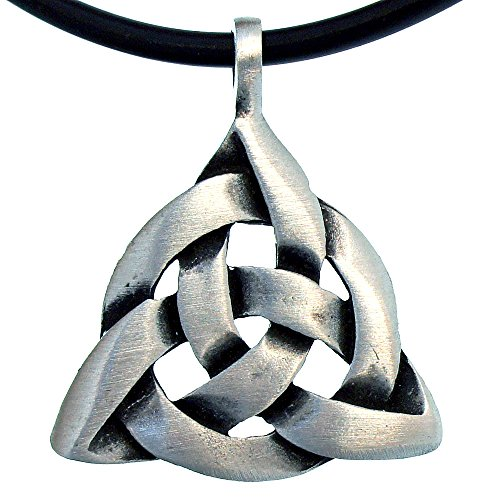 Celtic Trinity Triquetra Knot Pewter Pendant Charmed W Black PVC Cord