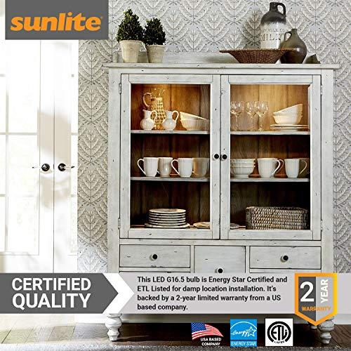 Sunlite G16.5/LED/7W/D/E12/CL/27K LED 60 Watt Equivalent G16.5 Globe Light Bulb Candelabra (E12) Base Clear Dimmable 2700K Warm White