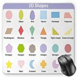 BGLKCS Educational Mouse Pad by, Classical Basic 2D Shapes Colorful Design Cartoon Style Children Learning Study, Standard Size Rectangle Non-Slip Rubber Mousepad, Multicolor
