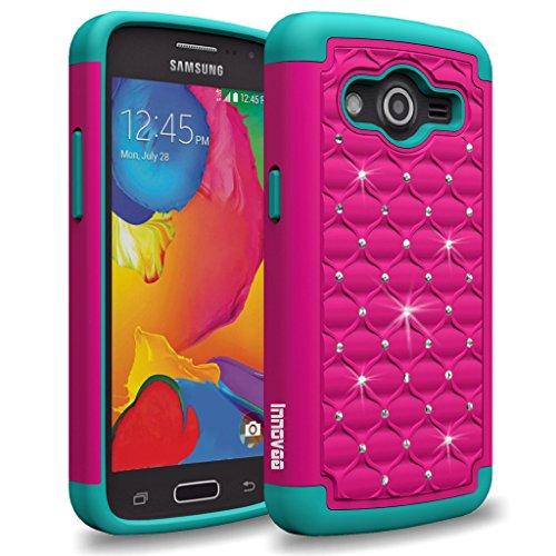 Samsung Galaxy Avant G386T / Galaxy Core LTE G3518 Case, INNOVAA Fashion Studded Rhinestone Armor Case W/ Free Screen Protector & Stylus Pen - Hot Pink/Teal (Studded Samsung Avant Case)