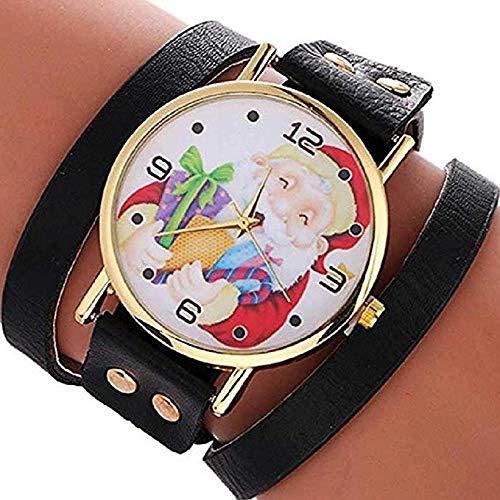 FAVOT 2019 New Women's Fashion Bracelet Watch Santa Claus Pattern Large Dial Multilayer Leather Winding Strap Student Quartz Watch (Black)