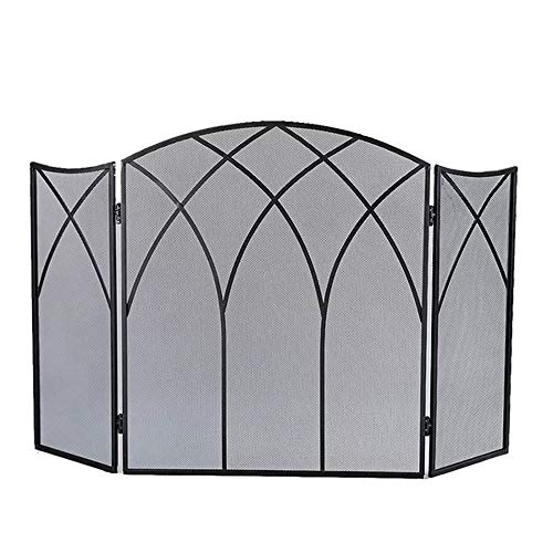 J&M 3 Panel Fireplace Screen Protector Steel Folding Doors in Gothic Style & Black Finish by J&M