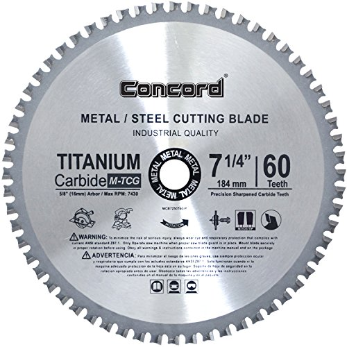 - Concord Blades MCB0725T060HP 7-1/4-Inch 60 Teeth TCT Ferrous Metal Cutting Blade