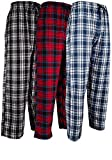 Andrew Scott Men's 3 Pack Cotton Flannel Fleece Brush Pajama Sleep & Lounge Pants (3XL, 3 Pack - Classic Flannel Assorted Plaids)