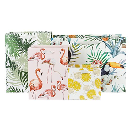 (WRAPAHOLIC Assorted Size Gift Bags - Printed Shopping Bags for Wedding, Birthday, Baby Shower, Party Favors - Toucan/Leaf/Flamingo/Lemon - 6)