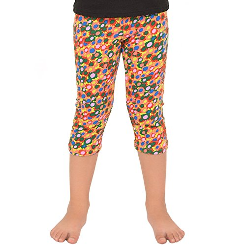 Stretch is Comfort Girl's Capri Leggings Floral Party Medium - Floral Kids Capris