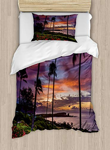 - Lunarable Hawaiian Sunrise Duvet Cover Set Twin Size, Manele Bay Scene on The Island of Lanai Long Exotic Trees, Decorative 2 Piece Bedding Set with 1 Pillow Sham, Olive Green and Multicolor