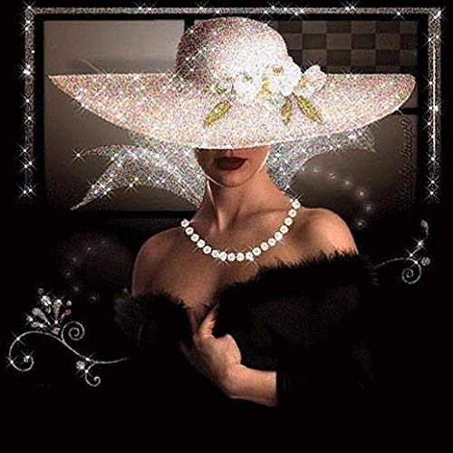 angelbless DIY Diamond Painting Cross Stitch Full Rhinestone Diamond Embroidery Portrait Elegant Woman Hat Painting for Decoration