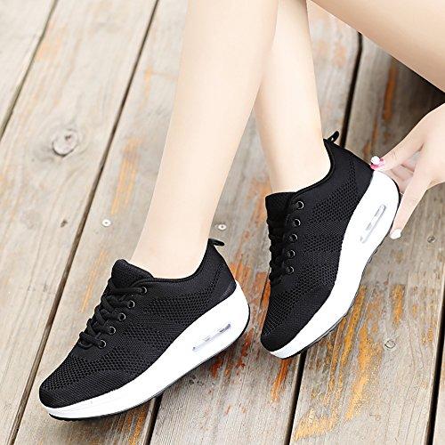 fde7ef6a Mujer Zapatillas de Deporte Cuña Zapatos Para Correr Plataforma Sneakers  con Cordones Calzado de Malla Air